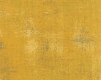Yellow Mustard Textured Fabric - Mustard Grunge by BasicGrey for Moda Fabrics 30150 282 Dark Golden - Priced by the 1/2 yard