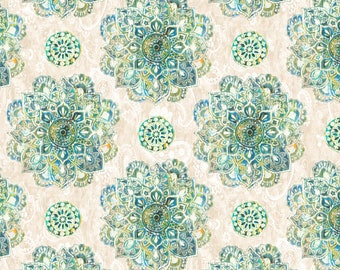 Bohemian Dreams Fabric - Mandala - Danhui Nai for Wilmington Prints - 89193 171 Cream &  Green - priced by the half yard