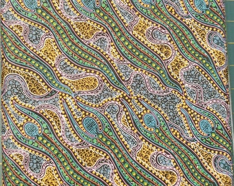 Australian Fabric - Spirit Woman - Aboriginal Fabric - Spirit Dreaming Green by Anette Doolan SPDG - Priced by the half yard