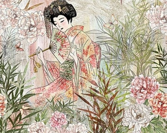 Japanese Garden Panel Fabric - Peony Dance by Chong-a Hwang for Timeless Treasures -  CD 7223 multi - Priced by the 24-Inch Panel