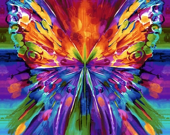 Butterfly - Digital Print - Rainbow - Awaken for Timeless Treasures by Chong-a Hwang CD 6955 - Priced by the 24-Inch Repeat