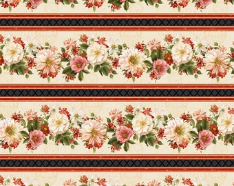 Rose Fabric - Paris Floral Fabric - From Paris with Love by Lisa Audit for Wilmington Prints - 86351 139 - Priced by the half yard