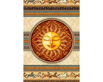 Southwest Fabric -Aztec Sun -Southwest Soul - Dan Morris Quilting Treasures - Sun Panel 26633 - 24-inch panel