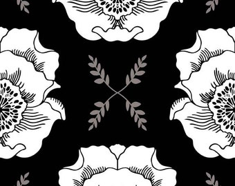 Black & White Floral Fabric - Mod Studio By Holli Zollinger for Riley Blake - C3570 Main Black   Priced by the 1/2 yard