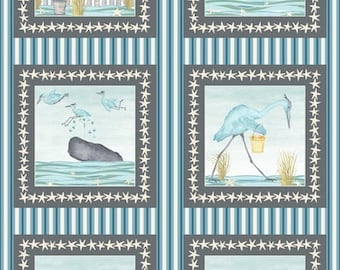 Beach Fabric - Barnacle Bay Whale Heron Panel - 3200P 11 - Priced by the 24-Inch Panel
