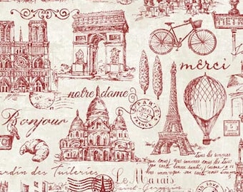 Paris Fabric - French Icons -  From Paris  Always a Good Idea collection - Northcott - 22357 24 Red - priced by the half yard