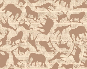 Safari Fabric - Wisdom of the Plains by Tara Reed for Quilting Treasures  - 24281 E Cream - Priced by the 1/2 yard