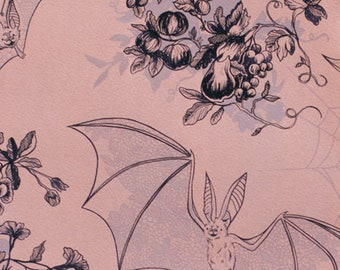 Angela's Attic - Bats Spiderwebs Violets - Haunted House Halloween - Alexander Henry Fabric  - 8375 B - Priced by the half yard