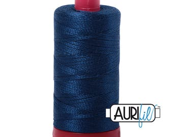 Aurifil 12wt Thread - Cotton Embroidery & Quilting Thread 12 wt - 100% cotton - Dark Blue Delft 2783