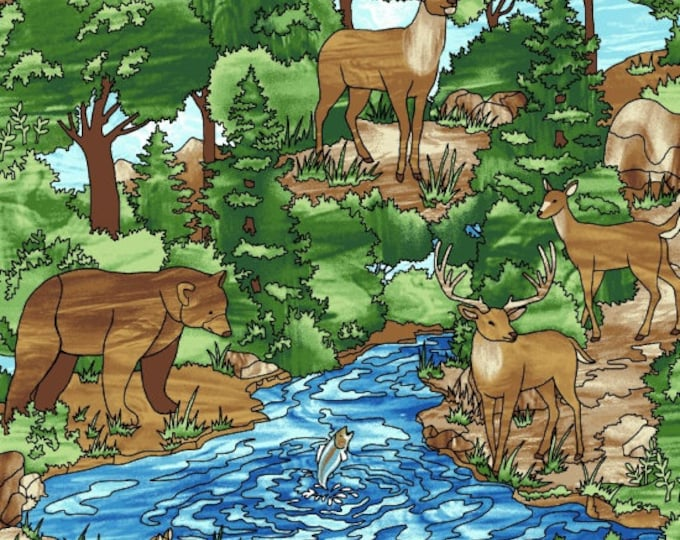 Featured listing image: Deer Bear Forest Creek Fish - Forest Scene - Mosaic Forest by Studio e Fabrics - 4192 76 Green - Priced by the half yard