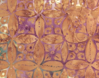 Circular Floral Batik Fabric - Artisan Indonesian from Majestic Batiks - D285 W, Tan & Purple, Priced by the 1/2 yard