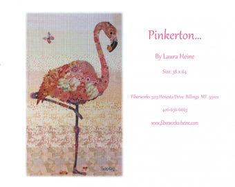"Flamingo Collage - Laura Heine - Applique Quilt - Pinkerton Flamingo 36""x64"" - DIY Pattern Or Kit Option - full size reusable template"