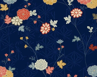 Floral Fabric - Floral Vine Japanese Garden Andover Fabric 1857 B Navy Blue - Priced by the Half Yard