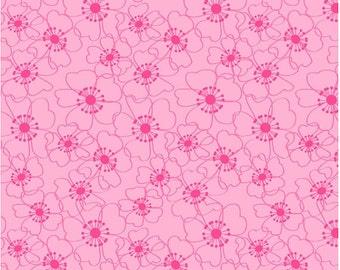 Pink Poppy Fabric - Bella Flora Pink Tonal Fabric by Studio E Fabrics E60 1552 22 - Priced by the 1/2 yard