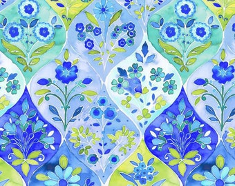 Floral Ogee Fabric  - Ajisai collection - In The Beginning Jason Yenter 3AJI1 blue - Priced by the 1/2 yard