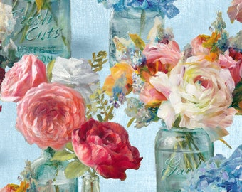 Flower Market Fabric - Flowers in Jars - Peony Rose -  Danhui Nai for Wilmington Fabrics - 89208 434 Blue - Priced by the half yard