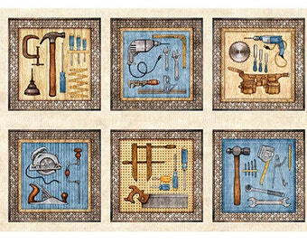 "Craftsman - Tool panel - Handyman - Dan Morris for Quilting Treasures - Panel 44""x24"" Horizontal 26085 Natural"