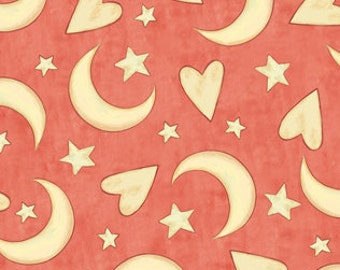 Moon Stars Heart Fabric -  Expressions of Faith - Bethany Shackleford Quilting Treasures 23608 C Salmon Pink- Priced by the 1/2 yard