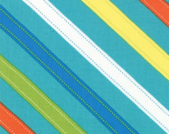 Bias Stripe Fabric, ABC Menagerie Fabric - Diagonal Stripes, ABC Menagerie by Abi Hall, Moda Fabrics 39524 18 Turq - Priced by the 1/2 yard