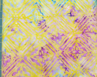 Geometric Floral Batik Fabric - Artisan Indonesian from Majestic Batiks - D273  - Yellow Purple - Priced by the 1/2 yard