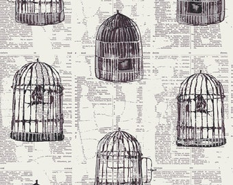 Alice in Wonderland bird cage Cotton Fabric - Uncaged Words by Katarina Roccella for Art Gallery WND 1536 Neutral, Priced by the Half yard