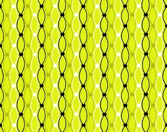 Bright Fabric, Lime Chain, Mod Black Design Fabric -  Licorice Candy by Studio e -  3355 64 Lime Green - Priced by the 1/2 yard