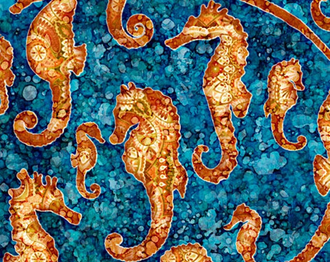 Featured listing image: Seahorse Fabric - Oceana by Dan Morris for Quilting Treasures - 27090 W Ocean Blue - Priced by the Half Yard