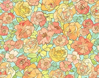 Rose Garden Fabric - The Flowers Alphonse Mucha 1898 - Kaufman Fabrics - SRKD-18191-238 Blue Rose - Priced by the half yard