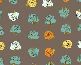 Heather Ross Fabric - Far Far Away 2 -  Roses - Windham Fabrics - 51203 7 Gray - Priced by the Half Yard