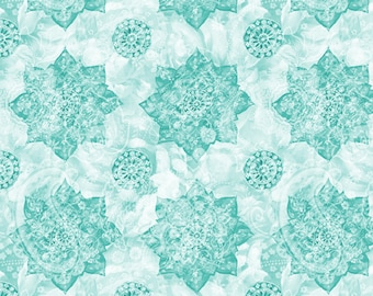 Wild Blush Fabric - Medallion - Danhui Nai - Wilmington Fabrics - 89221 717 Aqua - Priced by the half yard