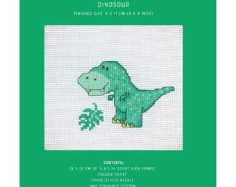Mini Cross Stitch Kit - Baby Dinosaur - TUVA Publishing MCS07 - Sold by the Each