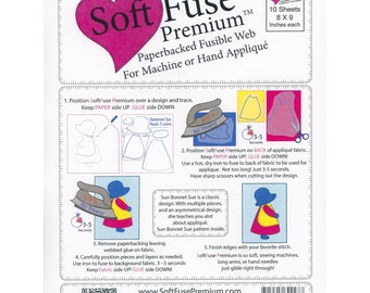 "Soft Fuse Premium Paper Backed Fusible Web - 10-pack sheets, 8""x9"""