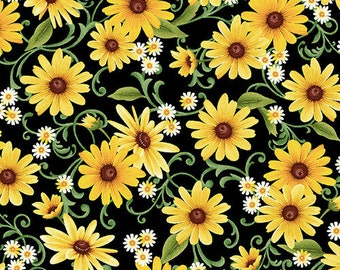 Farmers Market - Daisy Toss - by Geoff Allen for Studio e - 4457 99 Black & Yellow - Priced by the 1/2 yard
