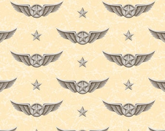 VIntage Pilot Wings Aviation Fabric - Smithsonian Wingman by Quilting Treasures 23615 E - Ecru - Priced by the 1/2 yard
