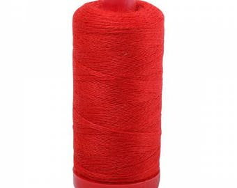 Aurifil 12wt Wool Thread - Wool Lana Acrylic/Wool Embroidery & Quilting Thread 12 wt - 50% wool - Red 8250