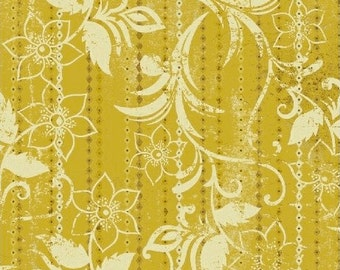 Floral Stripe Fabric - Urban Cosmos Gold Floral Stripe by Prima for Windham Fabrics 33331 5  - Priced by the 1/2 yard