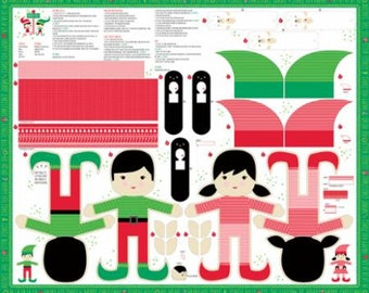 Christmas Elves - Stuffables - North Pole Stacy Hsu for Moda Fabrics - Sold by the Panel - DIY stuffed dolls