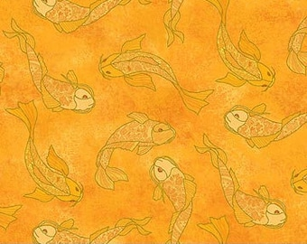 Shimmer Koi Pond Northcott - Koi Fish by Karen Sikie - 22350M 54 Orange -  Priced by the Half Yard