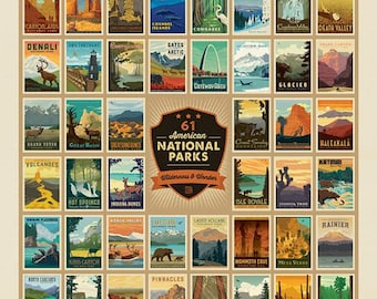 "National Parks Fabric Oversize Panel of Posters - Wilderness Wonders by Anderson Design Group for Riley Blake P9770 - 54""x72"" Panel"