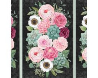 Botanical Oasis - Floral Bouquet Panel - By Anne Rowan for Wilmington Prints - 3007 68515 973 Black - Priced by the 24-Inch Panel