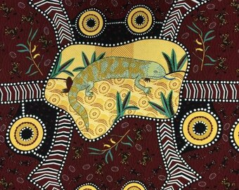 Australian Fabric, Aboriginal Fabric, Nambooka Fabric - Blue Tongue Lizard - Brown  - Priced by the YARD