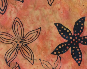 Starfish Batik Fabric - Artisan Indonesian from Majestic Batiks - CB 433 Pink Black,  Priced by the 1/2 yard
