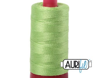 Aurifil 12wt Thread - Cotton Embroidery & Quilting Thread 12 wt - 100% cotton - Shining Green 5017