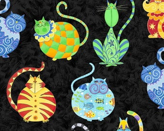 Cat Fabric - Catmosphere by Stephanie Marrot for Wilmington Fabrics - 84437 947 Black - Priced by the half yard