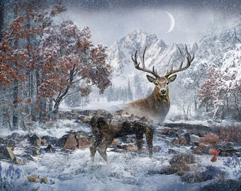 Stag, Call of the Wild, December Scene - Hoffman Fabrics - Q4460H-597 - Digital Print Fabric  - Priced by the 29-Inch Panel