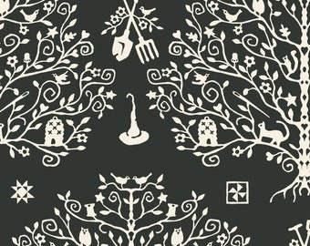 Spellcasters Garden Paper Cut Tree by Meg Hawkey Crabapple Hill for Maywood Studio - MAS 9815 KJ black - priced by the half yard