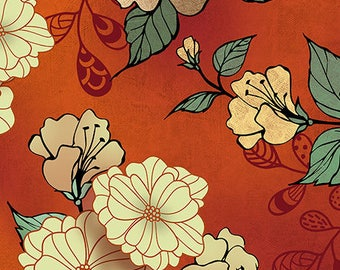 Floral Fabric, Vintage Floral, Asian Floral,  Manor House - Conrad Knutsen for Quilting Treasures 26396 Orange - Priced by the half yard