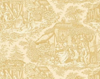 Toile Fabric - Roswell Mill by Mary Ellen Von Holt of Little Quilts for Henry Glass - 8438 44 Vanilla Cream - Price by the Half Yard