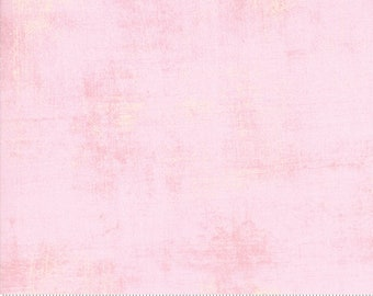 Pink Solid Fabric - Duchess Grunge by BasicGrey for Moda Fabrics 30150 64 Pink with Yellow - Priced by the 1/2 yard