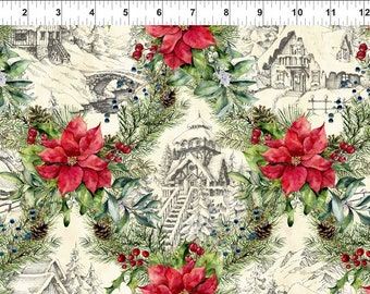 Winter Chalet - Poinsettia Winter - Christmas Fabric - In The Beginning - 3APW 1 - Priced by the 1/2 yard
